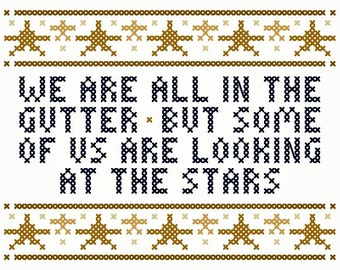 """Oscar Wilde Inspired """"Looking at the Stars"""" Cross Stitch Chart"""