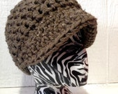 Chunky Acrylic Soft Woodsey Brown with Multi Brown Beige Flecks Brimmed Bliss Hat Ladies Mens  Teens  Hat Ready to Ship