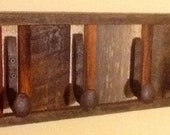 Reclaimed Barnwood rack,with railroad spikes as hooks