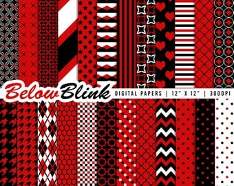 Red and Black Digital Paper Pack, Scrapbook Papers, 24 jpg files 12 x 12 - Instant Download - DP277