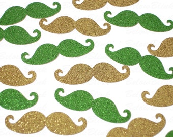 50 St. Patrick's Day Glittered Gold Green Mustache punch die cut scrapbooking embellishments - No484