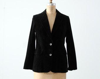 1970s black velvet blazer