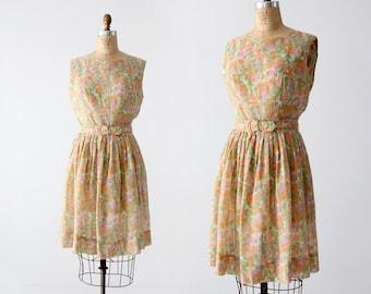 FREE SHIP  1960s floral dress with belt, watercolor garden party dress, vintage sundress