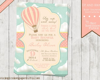 Up and Away - Hot Air Balloon Baby Shower Invitation - Baby Girl - Pink Blue Yellow