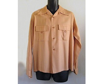 1940s Rare MINT  Gabardine pumpkin long sleeved shirt by BRENTWOOD, Rockabilly, Atomic, SWING