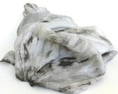 SALE  ...    large hand dyed silk scarf  ... shades of pewter, silver and winter white