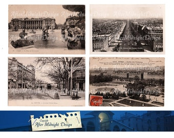 Postcard No 6 Paris Vintage French Postcards Cityview Shabby Chic Grungy