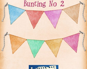 Alice Bunting No 2, SPOTTY Bunting digital printable bunting download for scrapbooking, party printables and graphic design.