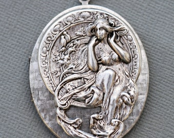 Locket,Large Oval Silver Locket,Goddess,Alphonso Mucha,Flowers,Wisdom,Jewelry,Necklace,Pendant,Image locket,picture locket,Wedding Necklace