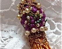 FRENCH PASSEMENTERIE TASSELS Beaded Gold, Purple, Green and Seed Pearls, Lamp Pull, Pillow Tassel, Scarf Tassel