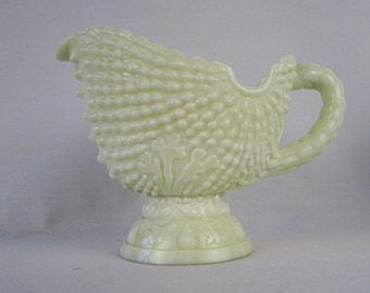 L G Wright Argonaut Shell Footed Cream Pitcher Custard Glass
