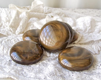 Vintage Chocolate Drop Chunky Buttons Coat Buttons Set of 6 Large Brown Buttons Vintage 1960s