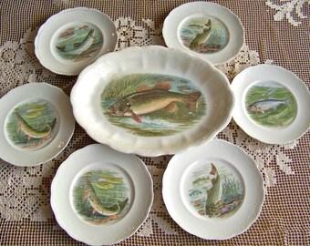 Antique Fish Platter Game Plates Set Fishing Lodge Hunting Cabin Decor Trout Stream Signed RK Beck Fisherman Hunter ca 1910
