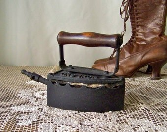 Antique Gas Iron Kenrick Natural Gas Powered Clothes Iron Pine Handle Primitive Iron Steam Iron Grandmas Iron Circa Late 1800s