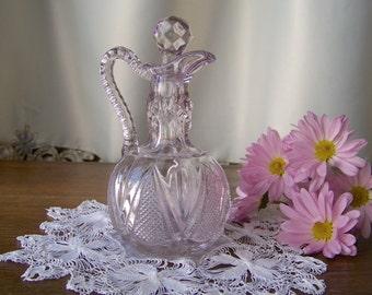 Vintage Cruet Purple Glass Pressed Glass Cruet Sun Purple Vinegar and Oil Cruet Kitchen Decor Shabby Cottage Decor Circa 1900s