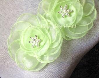 Organza Applique Lace Trim - 1 PCS Fluorescent Green Flower Applique Lace (A181)