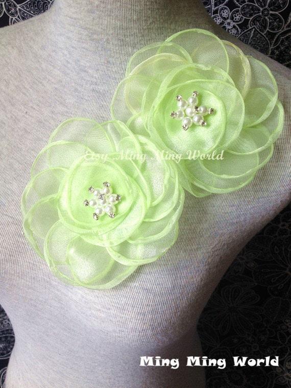 Organza Applique Lace Trim 2 PCS Fluorescent Green Flower