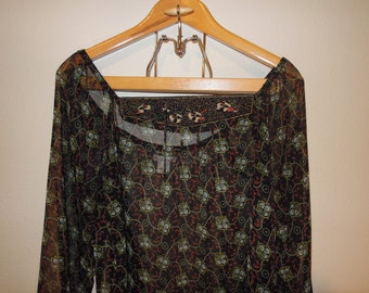 Vtg Sheer Chiffon Black Navy and Floral Printed Peasant Blouse Size Small to Medium