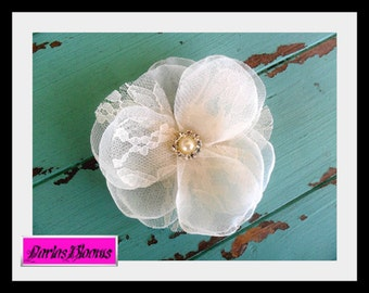 Lace Hairpiece, Bridal Hair Flower, Wedding Hair Accessory, Lace Hair Comb, Bridal Headpiece, Hair Flower, Bridal Accessory, Organza Flower