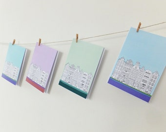Set of 4 Amsterdam Cards, Blank Cards with envelopes, Pastel Cards, Greeting Cards, Thank You Cards, Note Cards, Notecards