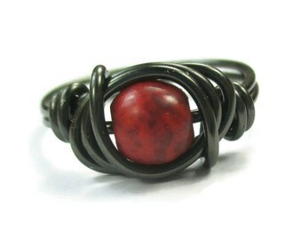 Gothic Jewelry - Red Stone Ring - Goth - Wire Wrap Rings