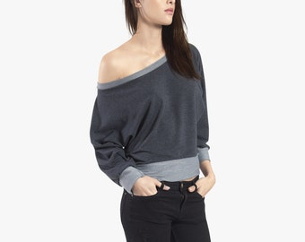 Sweater Off shoulder sweater, off the shoulder sweatshirt, dolaman batwing sweater, tops for women, cotton grey sweater