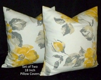 Throw Pillows, Accent Pillows, Decorative Pillows, Pillow Covers -  Set of Two 18 Inch - Grey, Yellow and Ivory