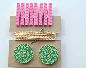 Art Hanging Kit ~ Holiday Card Hanging Kit ~ Mini Clothespins ~ Baker's twine ~ Nail Covers ~ Pink, Yellow and Green