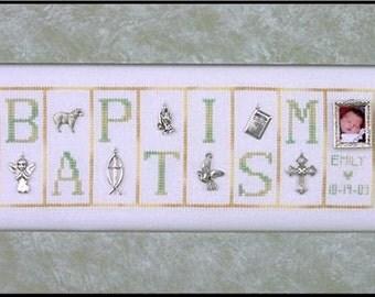 Baptism Cross Stitch Pattern - Hinzeit Mini Blocks Baby Religious counted cross stitch needlework pattern chart with charms