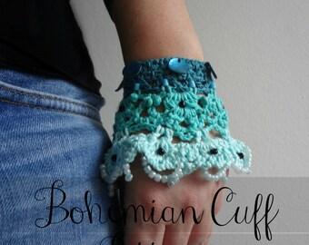 CROCHET PATTERN Bohemian Cuff, crochet cuff, crochet bracelet,crocheted accessory,crocheted lace, a photo tutorial, download