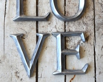 "4"" Wall Letters LOVE sign wall art decor vintage style Silver Zinc Nickel faux"