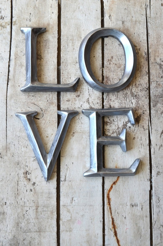 4 wall letters love sign wall art decor vintage style Wall letters decor