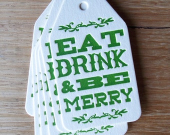 Set of 6 Letterpress Christmas Gift Tags Eat Drink and Be Merry