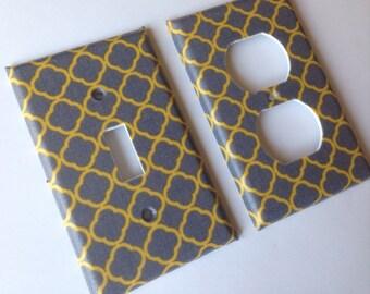 Yellow Gray Single Light Switch Plate Cover/ Moroccan Decor / Trellis Decor/ Yellow Grey Nursery Decor/ Gray Home Decor / Bedroom Decor