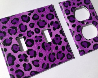 Leopard Double Light Switch Plate Cover Set / Light Switchplate / Leopard Room Decor / Purple Leopard Decor / Purple Nursery Decor