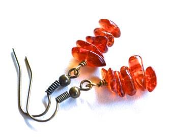 Amber Gemstone Stacks . Earrings
