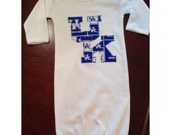 Hand Appliqued Game Day Infant Baby Gown Your Team's Colors - Kentucky, Alabama, Auburn, ANY SPORTS Team