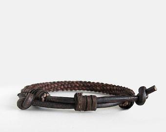 Woven Brown Bracelet, Mens Leather Bracelet, Adjustable Noose