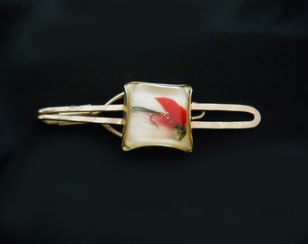 1940s Tie Clip - Vintage Lucite with Fishing Lure - 40s Retro Tie Bar