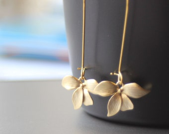 gold flower earring orchid earring floral earring bridesmaid earring