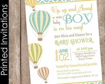 Printed Chevron Hot Air Balloon Baby Shower Invitation, up up and away, chevron baby shower invitation, brown, green, orange(FREE ENVELOPES)
