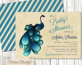 peacock baby shower invitation shabby baby shower invitation vintage baby shower neutral baby
