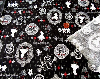 Alice in wonderland fabric black and white color one yard