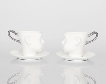Set of two Whimsical doll head cups - white porcelain and silver artisan cups with saucer, whimsical ceramic design