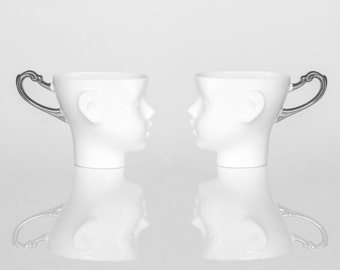 Silver porcelain doll head mugs- set of two ceramic mugs, for coffee or tea, white cups with silver handle