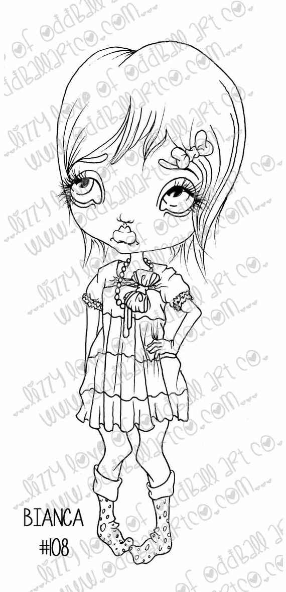 INSTANT DOWNLOAD Digi Stamp Digital Big Eye Sassy Girl ~ Bianca Image No.108 by Lizzy Love