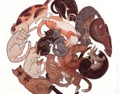 Cat Nap ORIGINAL Gouache and Watercolour Painting