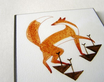 Step Up Fox Plaque Mounted Giclee Print Illustration