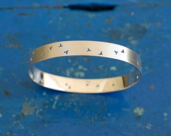 Flock of birds bangle, sterling silver bangle with handcut bird detail