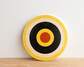 Target Circle Art Block - Yellow/White/Black/Red - archery target, bull's eye, colorway #16